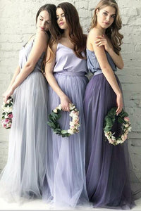 Two Piece A Line Scoop Lace Boho Simple Tulle Short Sleeves Bridesmaid Dresses OHS101 | Cathyprom