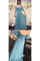 Simple Cheap A Line Off  The Shoulder Half Sleeve Long Chiffon Boho Bridesmaid Dresses  OHS113 | Cathyprom