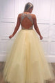 A-Line Sleeveless Open Back Tulle Beaded V-Neck Long Prom Dress OHC148 | Cathyprom