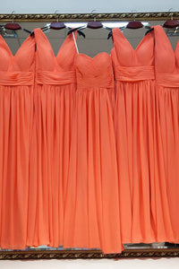 Charming A-line V-neck Floor Length Sleeveless Long Chiffon Bridesmaid Dresses with Ruffles OHS128 | Cathyprom