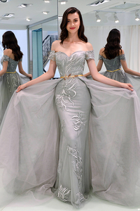 Beautiful Prom Dresses Sheath Off-the-shoulder Appliques Short Sleeves Grey Long Tulle Prom Dress OHC257 | Cathyprom
