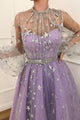 Sparkly A Line High Neck Floor Length Long Sleeve  Star Lace Lilac Long Tulle Prom Dress OHC128 | Cathyprom