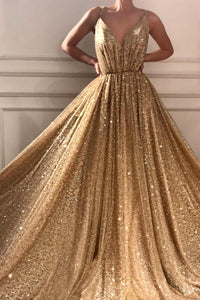 Sparkly A Line Spaghetti Straps Floor Length Sleeveless Gold Long Tulle Prom Dress OHC109 | Cathyprom