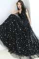 Chic A-line Spaghetti Strap Floor-length Sleeveless Star Lace Long Black Tulle Prom Dress OHC132 | Cathyprom