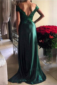 Sexy A Line Off-the-shoulder Sweep Train Sleeveless Slit Long Elastic Woven Satin Prom Dress/Evening Dress  OHC136 | Cathyprom
