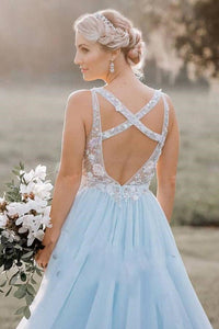A Line V-neck Open Back Criss-Cross Straps Prom Dresses Sleeveless Long Tulle Embroidery Prom Dress OHC245 | Cathyprom
