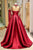A Line High Neck Sweep Train Long Sleeves Burgundy Beading Long Satin Prom Dress Evening Dress  OHC123 | Cathyprom