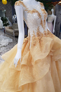 Sparkly Prom Dresses Bateau Sweep Train Appliques Beaded Lace Sleeveless Long Tulle Prom Dress  OHC241 | Cathyprom