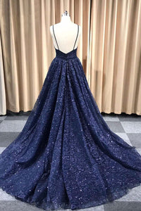 Gorgeous Sparkly A Line Spaghetti Straps Sweep Train Sleeveless Sequins Long Tulle Prom Dress OHC240 | Cathyprom