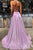 Sparkly Spaghetti Straps Sweep Train Sleeveless Criss-Cross Straps Lilac Long Tulle Prom Dress Evening Dress OHC111 | Cathyprom