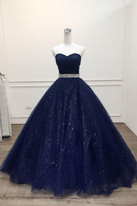 Ball Gown Sweetheart Sweep Train Sleeveless Sequins Long Tulle Prom Dress/Evening Dress OHC200 | Cathyprom