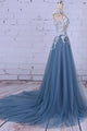 Beautiful A Line Scoop Sweep/Brush Train Sleeveless Flowers Appliques Long Tulle Prom Dress/Evening Dress OHC126 | Cathyprom