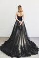 Sexy A-line Sweep Train Black Sleeveless Long Prom Dress/Evening Dress with Appliques Beading OHC186 | Cathyprom
