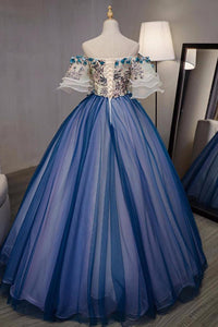 Ball Gown Off The Shoulder Short Sleeves Appliques Hand-Made Flower Tulle Organza Prom Dress/Evening Dress  OHC217 | Cathyprom