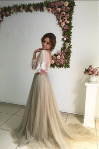 3/4 Sleeves Sexy Cheap Scoop Sweep Train Appliques Long Tulle Prom Dress Evening Dress OHC197 | Cathyprom