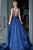 Sexy A-line V-neck Sweep Train Sleeveless Rhinestone Long Satin Prom Dress OHC195 | Cathyprom