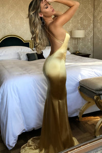 Sexy Mermaid Spaghetti Straps Sweep Train Sleeveless Long Gold Satin Prom Dress  OHC106 | Cathyprom