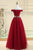 Cheap A Line Off-the-shoulder Floor-length Sleeveless Long Burgundy Tulle Prom Dress Evening Dress OHC124 | Cathyprom