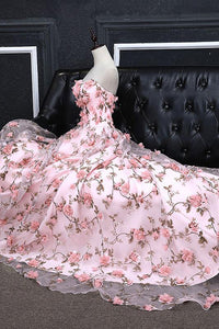 A-line Sweetheart Sweep Train Sleeveless Floral Print Long Tulle  Prom Dress OHC138 | Cathyprom