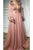 A line V-neck Floor Length Long Sleeves Beading Embroidery Tulle Prom Dress OHC114 | Cathyprom