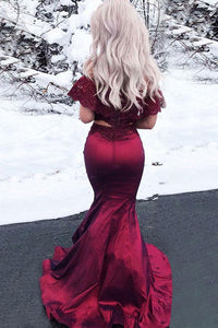 Two Piece Mermaid Off-the-shoulder Floor Length Sleeveless Lace Long Burgundy Satin Prom Dresses OHC223 | Cathyprom