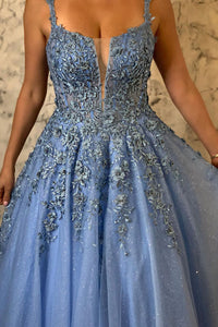 Modest A Line Spaghetti Straps Sleeveless Appliques Beading Long Blue Tulle Prom Dress OHC306 | Cathyprom