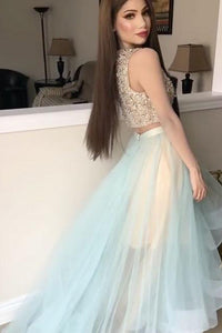 High Low Two Piece Bateau Sleeveless Rhinestone Long Tulle Prom Dress Party Dress  OHC303 | Cathyprom