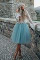 Beautiful Two Pieces Scoop Long Sleeves Tulle Homecoming Dress Short Prom Dress Party Dress  OHM111 | Cathyprom