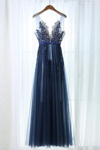 Chic Prom Dresses A-line Dark Navy Sleeveless Appliques Long Tulle Prom Dress/Evening Dress OHC301 | Cathyprom