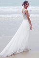 Beautiful A-line V-neck Sweep Train Sleeveless Tulle Bridal Gown Wedding Dresses with Beading OHD137 | Cathyprom