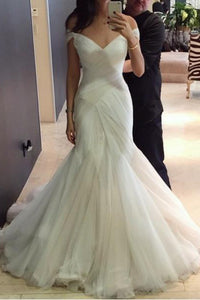 Sexy Trumpet/Mermaid Sweep/Brush Train Off The Shoulder Bridal Gown Wedding Dresses with Ruffles OHD126 | Cathyprom