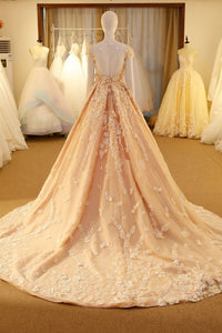 Chic A Line Scoop Sweep/Brush Train Sleeveless Long Tulle Bridal Gown Wedding Dresses with Appliques OHD170 | Cathyprom