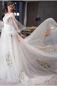 Beautiful Spaghetti Straps Sweep Train Long Sleeves Wedding Dresses Bridal Gown OHD112 | Cathyprom