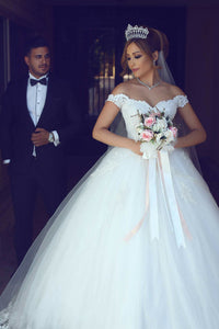Sexy Ball Gown Off The Shoulder Floor Length Sleeveless Tulle Bridal Gown Wedding Dresses OHD132 | Cathyprom