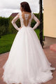 Sexy A Line Scoop Sweep Train Long Sleeves Tulle Bridal Gown Wedding Dresses Appliques OHD165 | Cathyprom