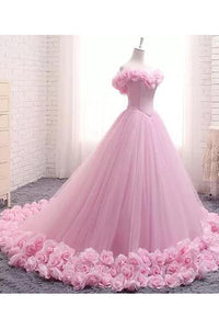 Ball Gown Off-the-shoulder Sweep Train Sleeveless Hand-Made Flower Long Tulle Bridal Gown Wedding Dresses OHD150 | Cathyprom