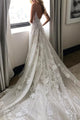 Beautiful A-line Spaghetti Straps Sweep Train Sleeveless Backless Long Tulle Bridal Gown Wedding Dresses OHD151 | Cathyprom