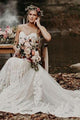 Romantic Wedding Dresses Sweetheart Sheath Column Long Train Chic Bridal Gown OHD213