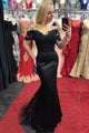 Mermaid Black Satin Off The Shoulder Short Sleeves Lace Long Satin Prom Dress OHC398 | Cathyprom