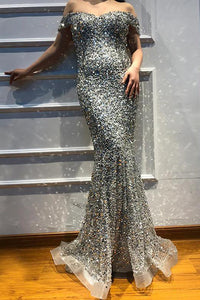 Mermaid Off the Shoulder Beading Long Grey Tulle Lace Prom Dresses Evening Dresses OHC439 | Cathyprom