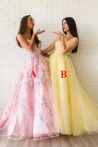 Modest A-line V Neck Tulle Appliques Sleeveless Long Lace Prom Dress OHC448
