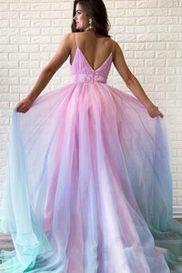 A Line Spaghetti Straps Sweep Train Sleeveless Backless Ombre Long Tulle Prom Dress OHC204 | Cathyprom