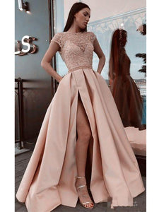 Stunning Tulle & Satin Cap Sleeves A-line Prom Dresses With Beadings PD236