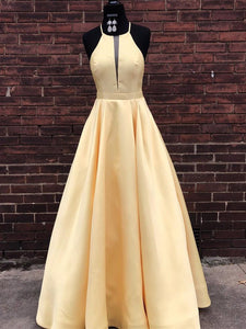 Simple Satin Jewel Floor-length A-line Prom Dresses PD295