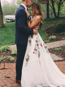 Gorgeous Lace Prom Dresses A-line Floral Gowns With Sweep Train CP120