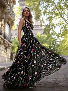 Exquisite V-neck Lace Prom Dresses Long Floral Formal Gowns CP115|CathyProm