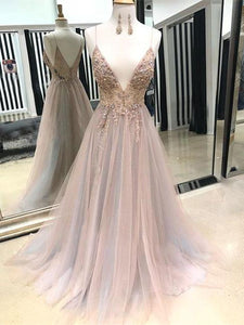 Eye-catching Illusion Prom Dresses Tulle Spaghetti Straps A-line Formal Gowns CP114|CathyProm