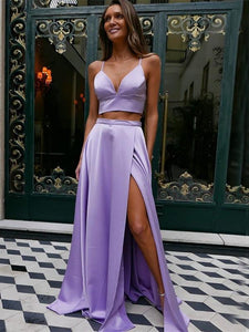 Fashion Satin Straps A-line Prom Dresses 2 Pieces Gowns With Slit CP112|Cathyprom