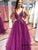 Sexy Deep V-Neck A Line Prom Dress Long Charming Appliques Beaded Prom/Evening Gowns PIN07123|CathyProm