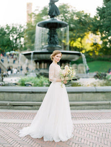 3/4 Sleeve Sexy Deep V Neck Rustic Wedding Dress Chic Lace See Though Back Wedding Dress Bridal Gown PIN0714|CathyProm